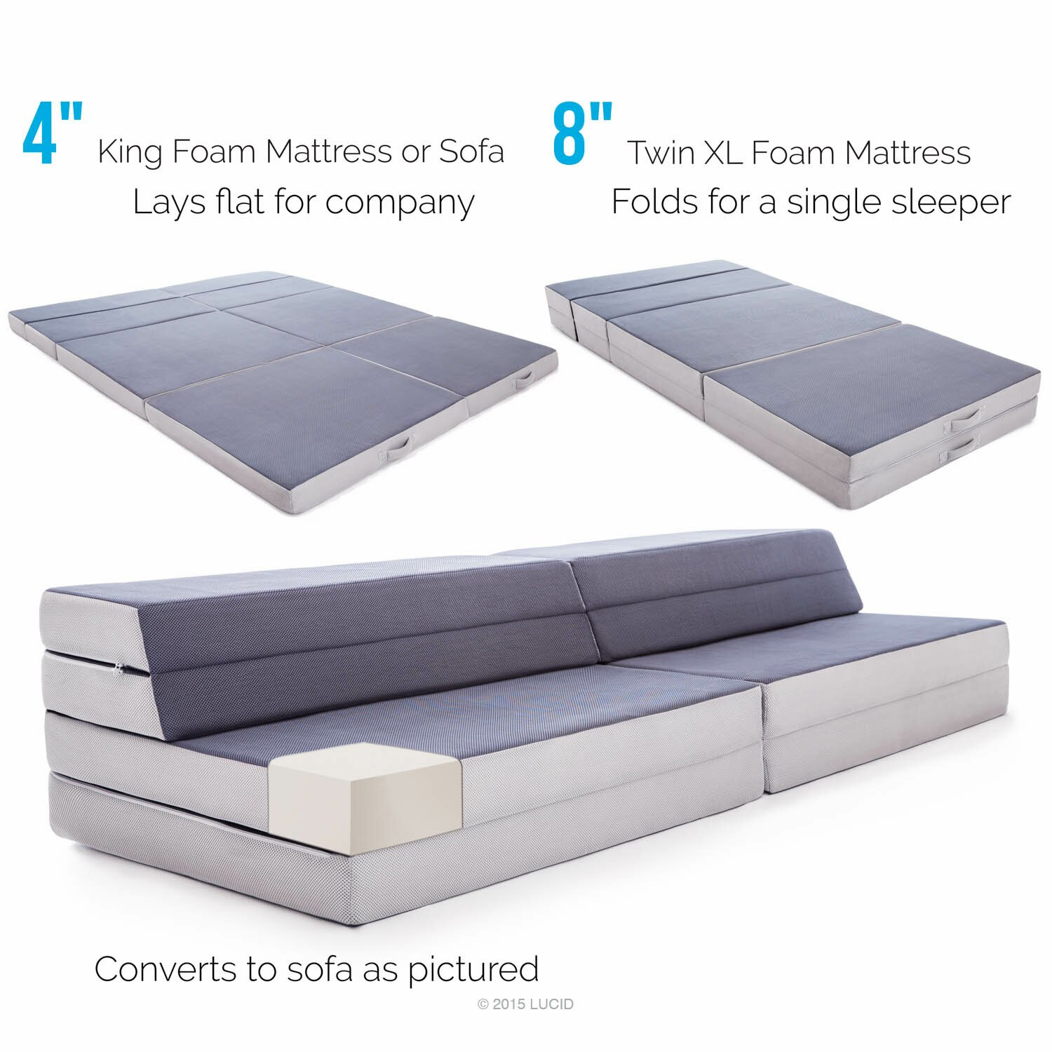 Lucid Folding 4 Firm Memory Foam Mattress & Reviews