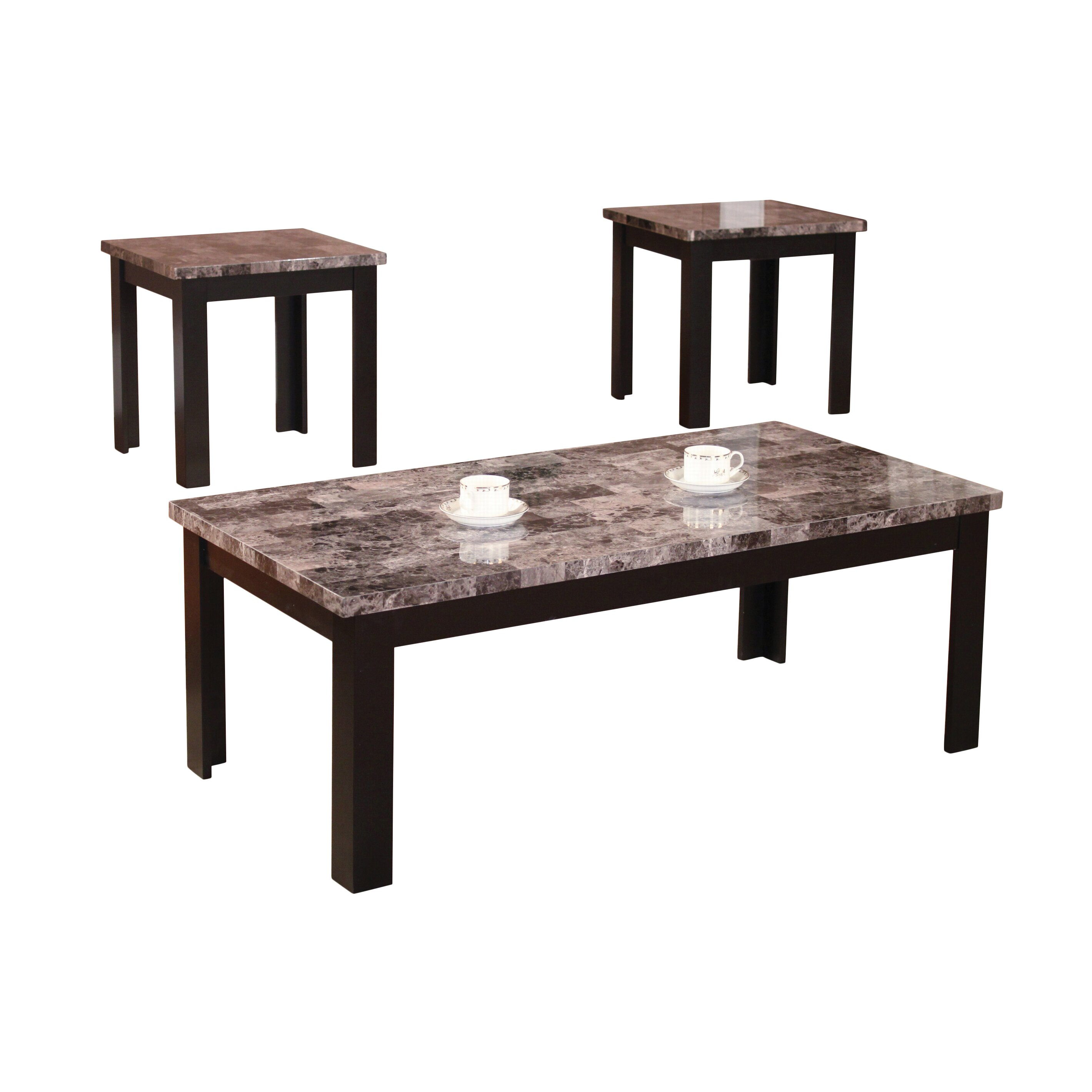 Three Piece Living Room Table Set Andover Mills Cecil Marble Top 3 Piece Coffee Table Set Reviews