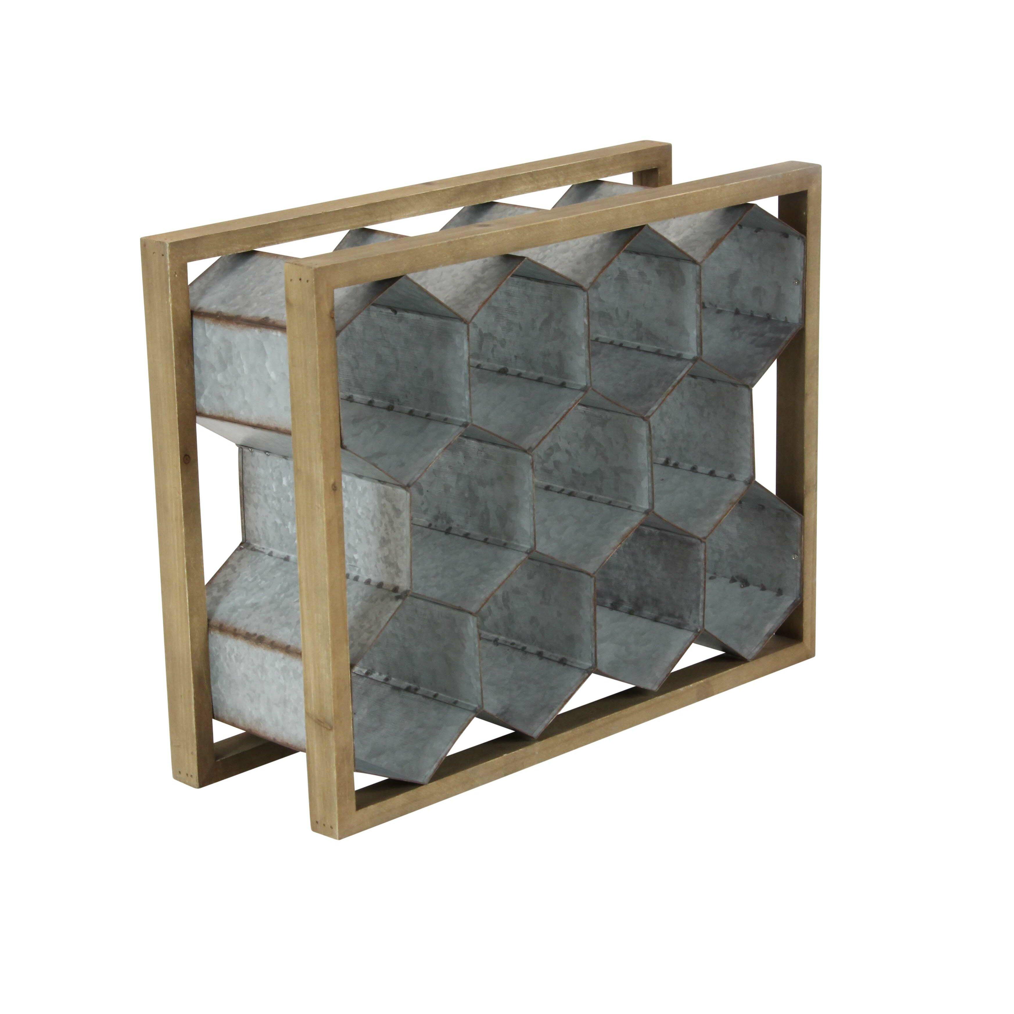 Cole Grey Wood Metal 11 Tabletop Wine Bottle Rack