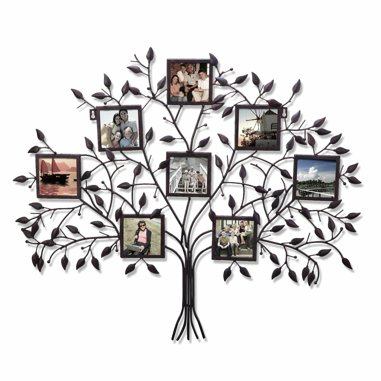 adeco trading 8 opening decorative family tree wall hanging collage picture frame