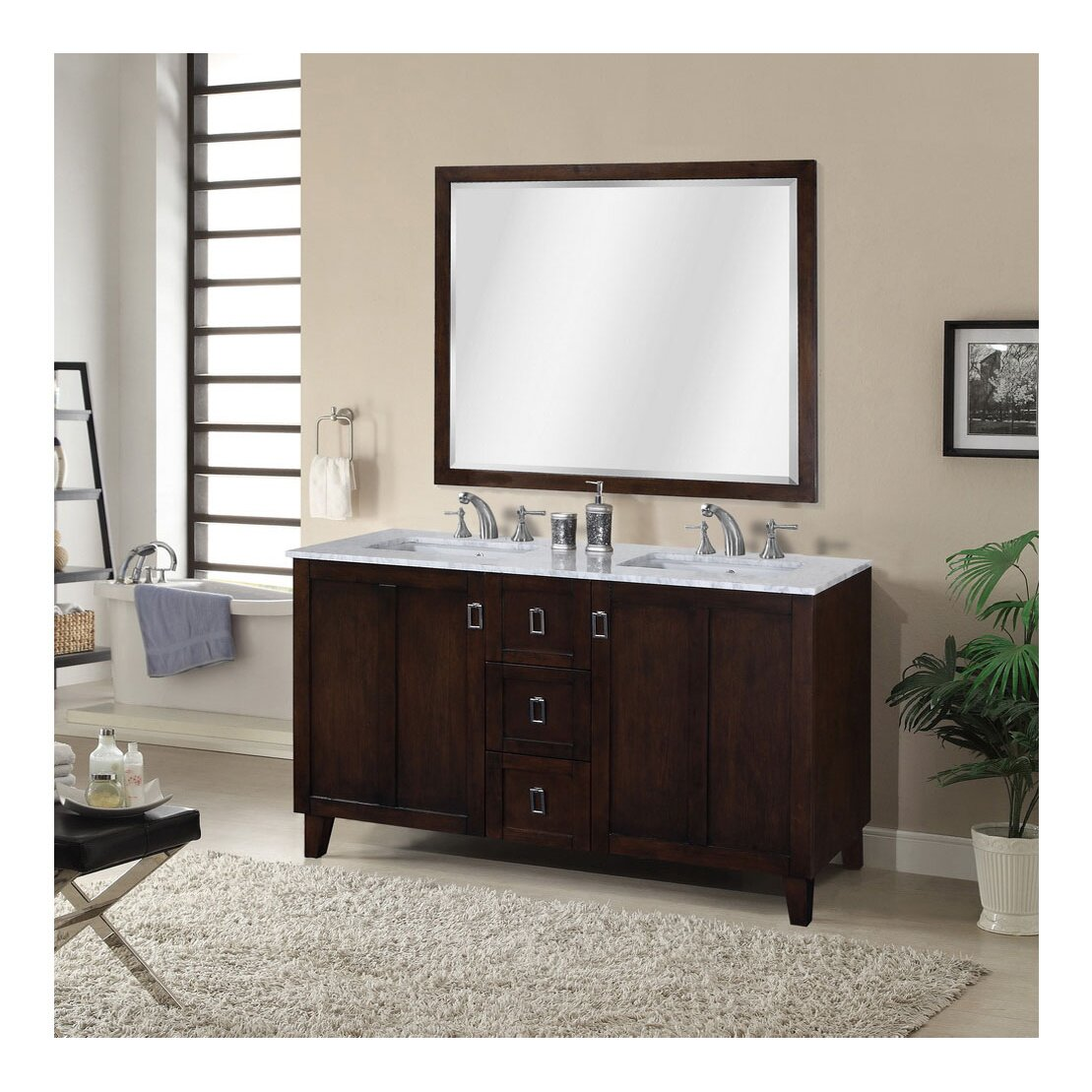 InFurniture IN 32 Series 60 amp quot  Double Sink Bathroom Vanity Set. InFurniture IN 32 Series 60 quot  Double Sink Bathroom Vanity Set