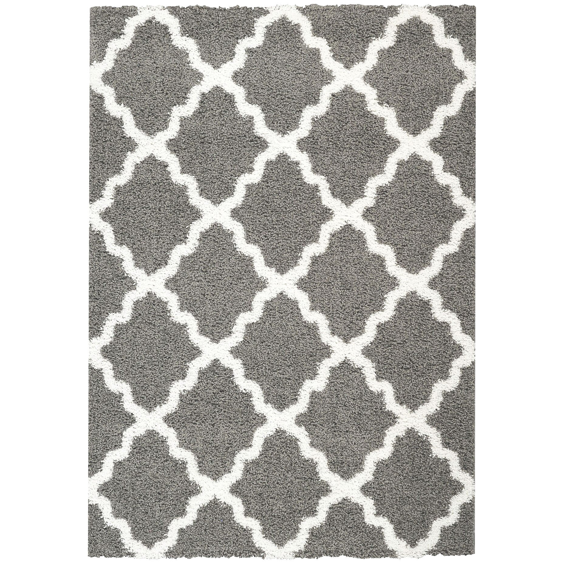 Rugnur Bella Maxy Home Moroccan Trellis Contemporary Gray/White Shag Area  Rug