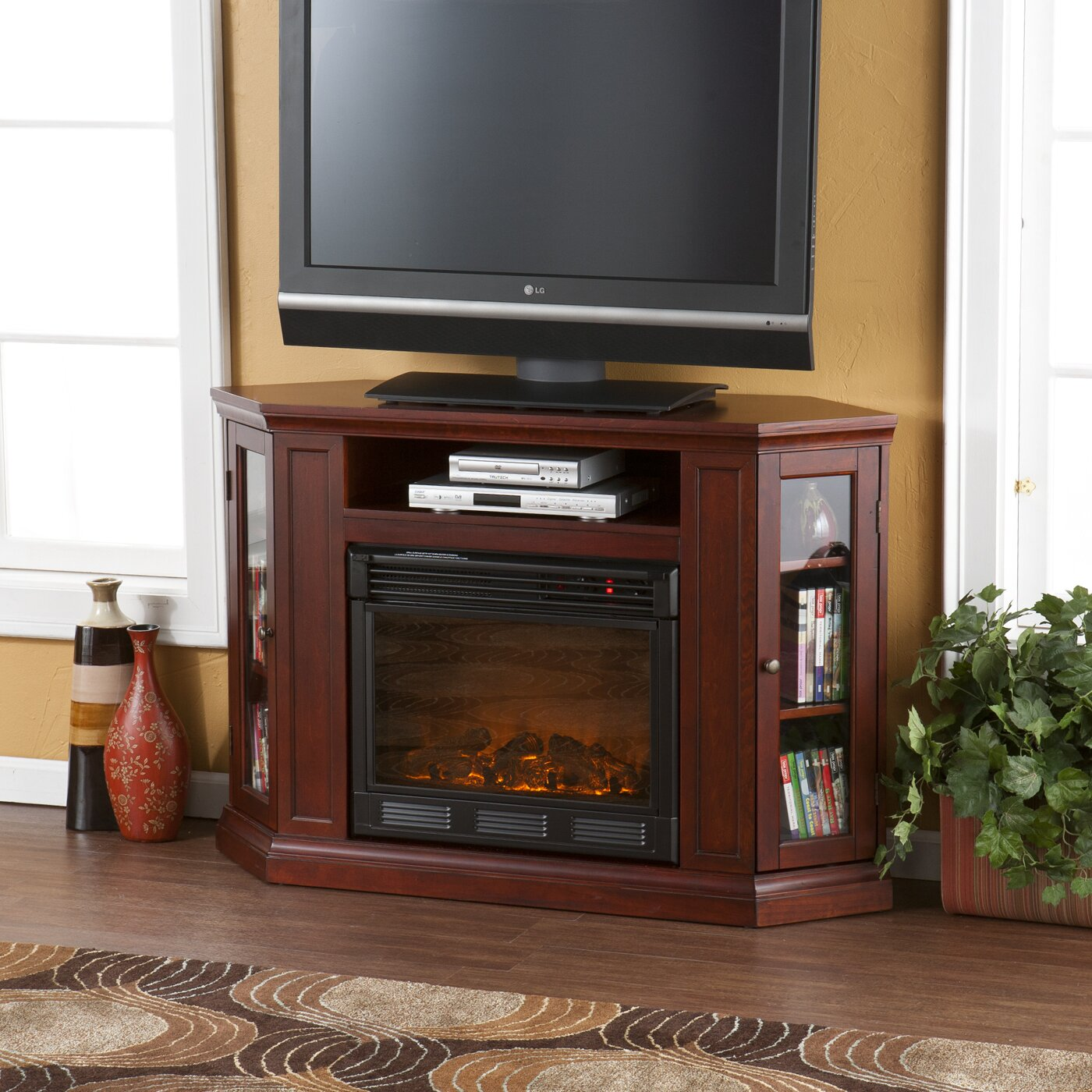 alcott hill dunminning corner tv stand with electric fireplace reviews. Black Bedroom Furniture Sets. Home Design Ideas