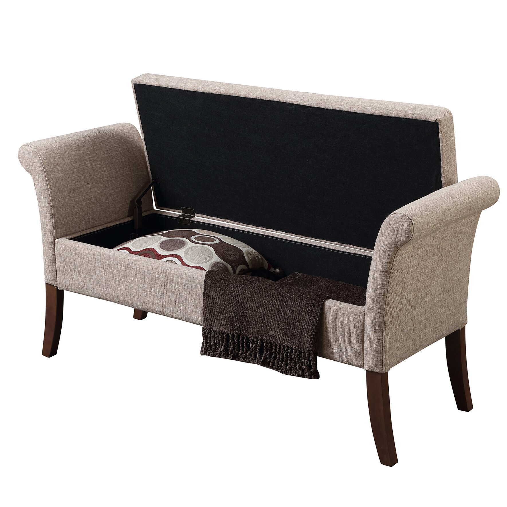 Hokku Designs Revionna Two Seat Bench With Storage: Charlton Home Richland Two Seat Storage Bedroom Bench