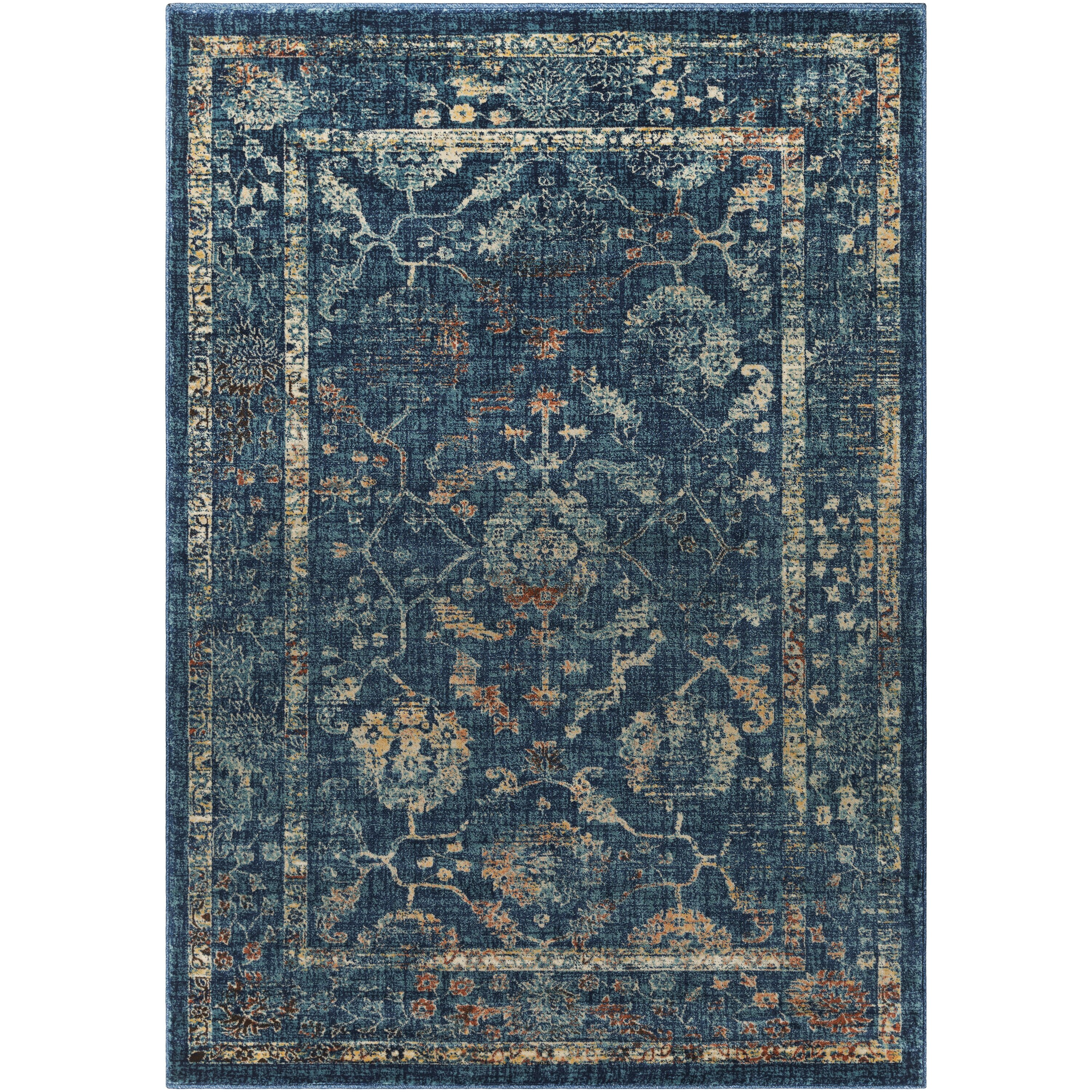 Ewing navy teal area rug joss main for Navy and teal rug
