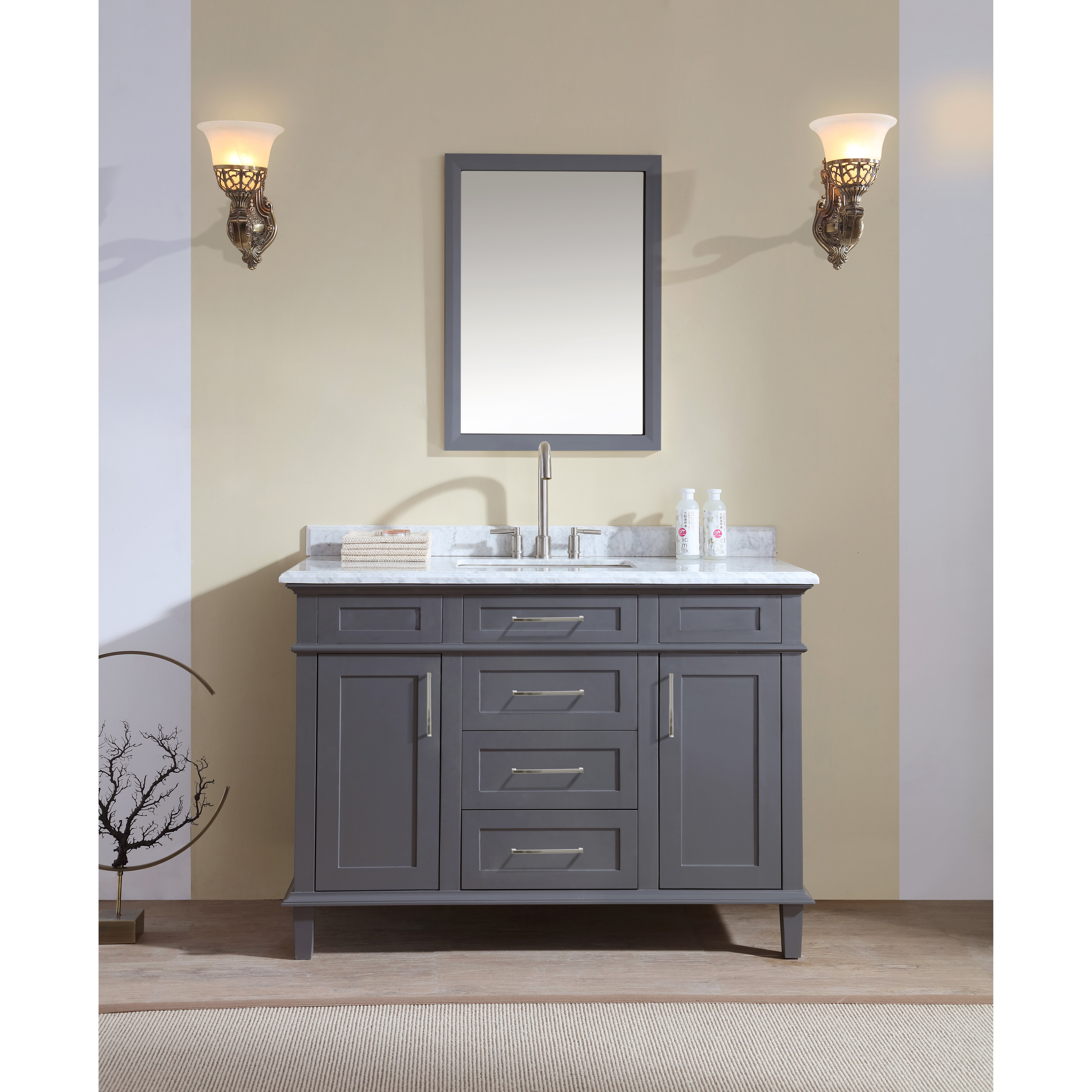 "ari kitchen & bath newport 48"" single bathroom vanity set"