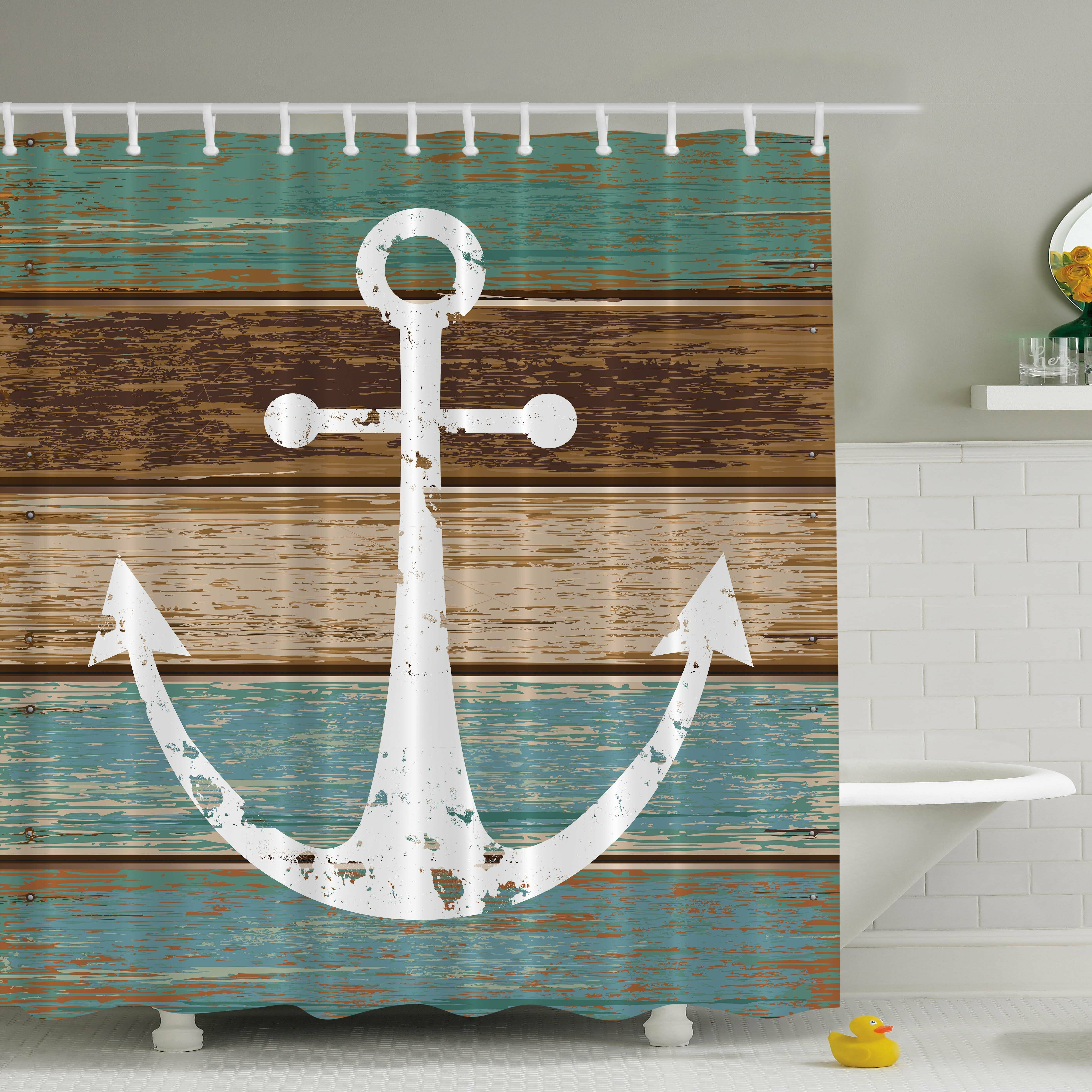 Green hookless shower curtain - Hookless Shower Curtains Amazon Turquoise And Brown Shower Curtain Ambesonne Anchor Print Shower Curtain