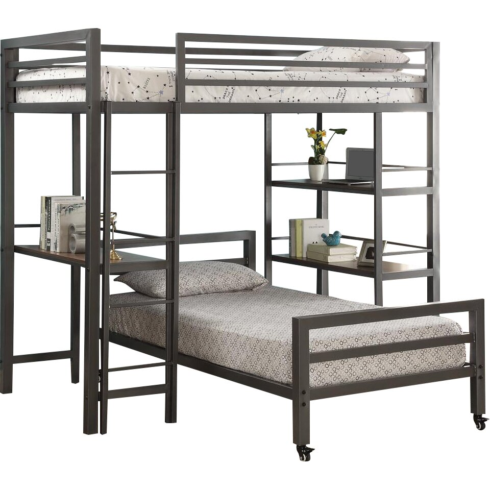 viv rae diann twin loft bed with bookshelves and writing desk