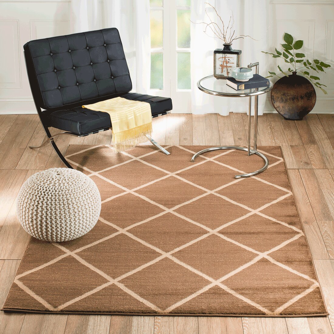 Rug and decor inc venice machine woven brown indoor area for Decor international handwoven rugs