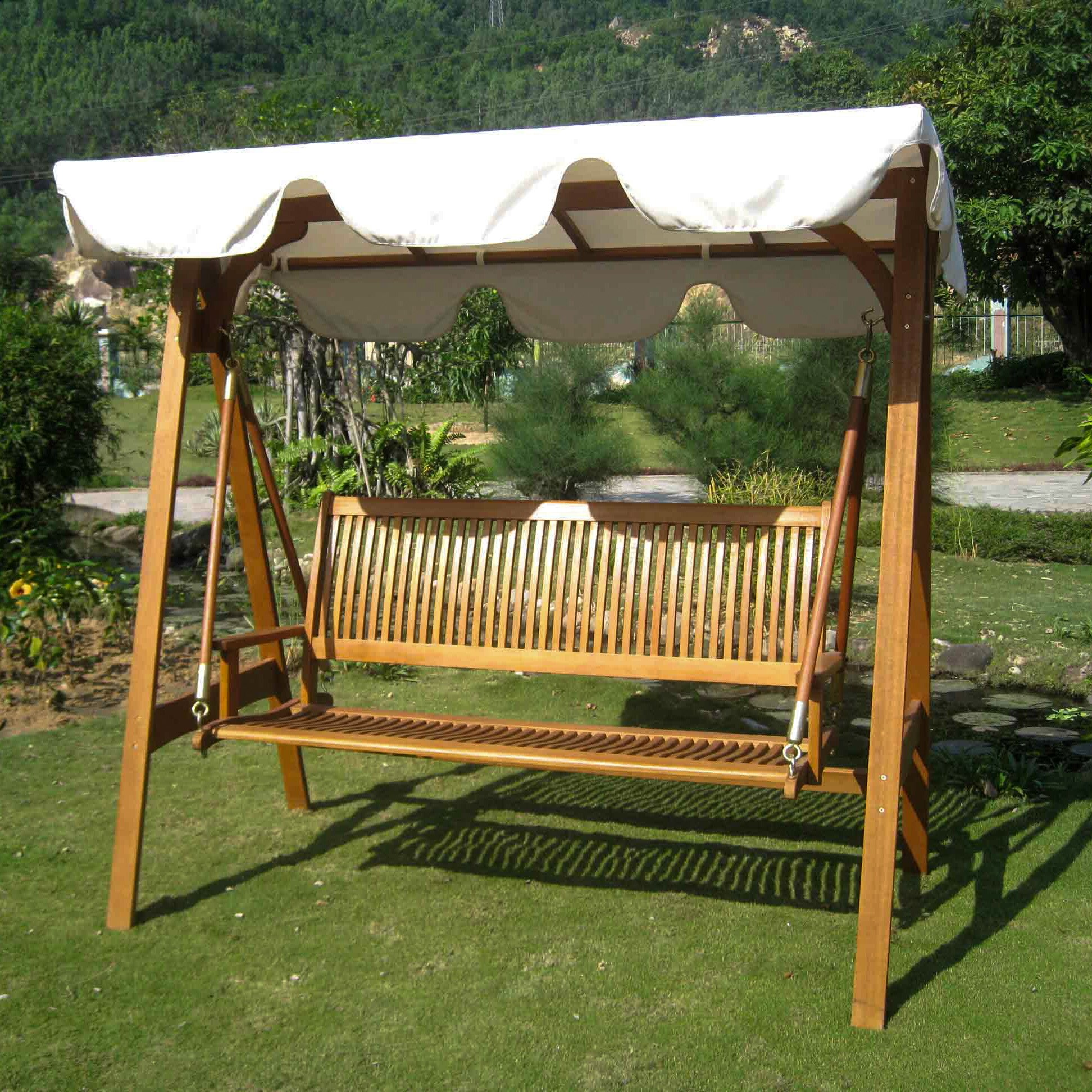breakwater bay sabbattus 3 seater balau swing with frame and canopy