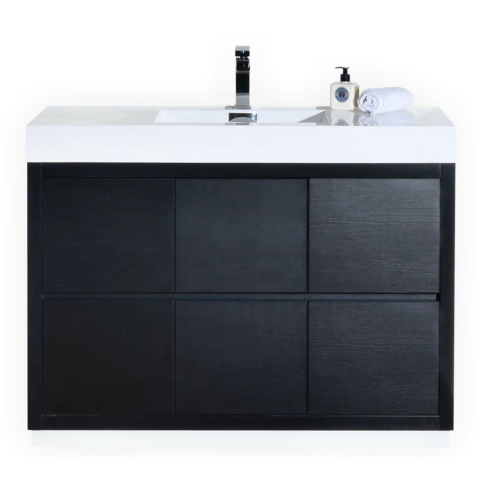 Kube Bath Bliss 48 amp quot  Single Free Standing Modern Bathroom Vanity Set. Bliss 48 quot  Single Free Standing Modern Bathroom Vanity Set