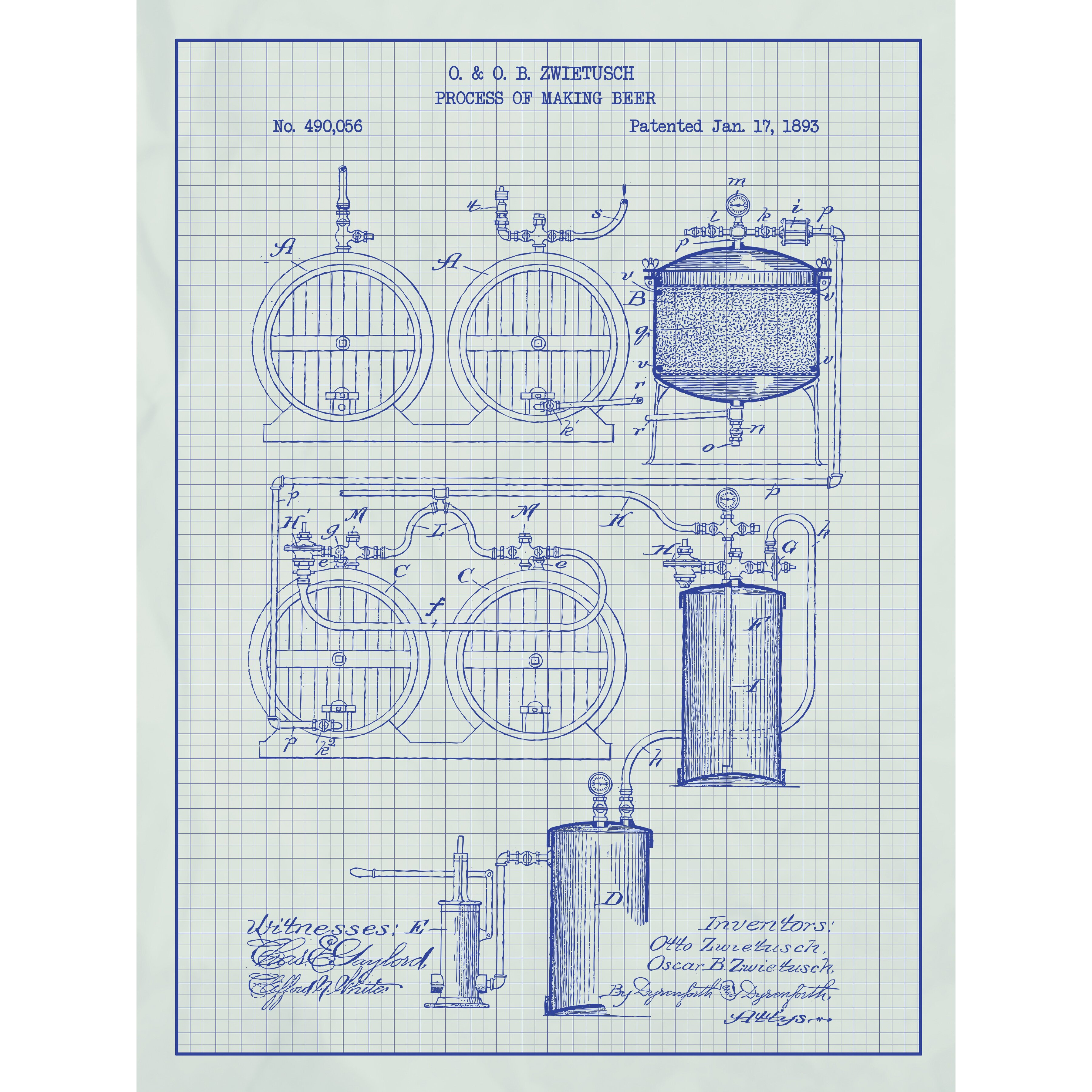 Magnificent Inked And Screened Process Of Making Beer Blueprint Graphic Art Home Design Photos Ideas Notavaius