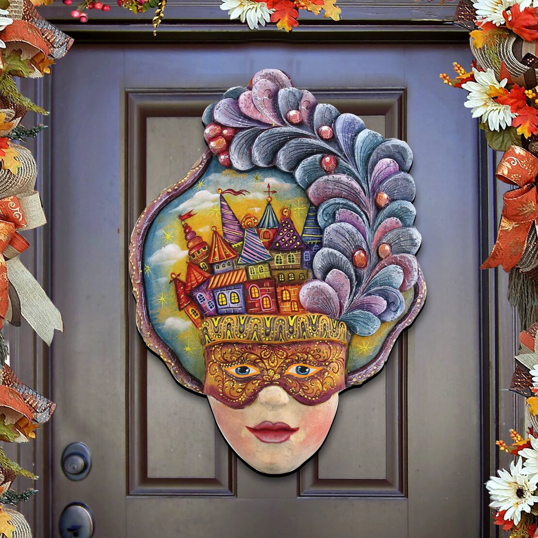 Decorative Door Hangers Authentic Monogram Custom Art Masquerade Mask Wooden Decorative
