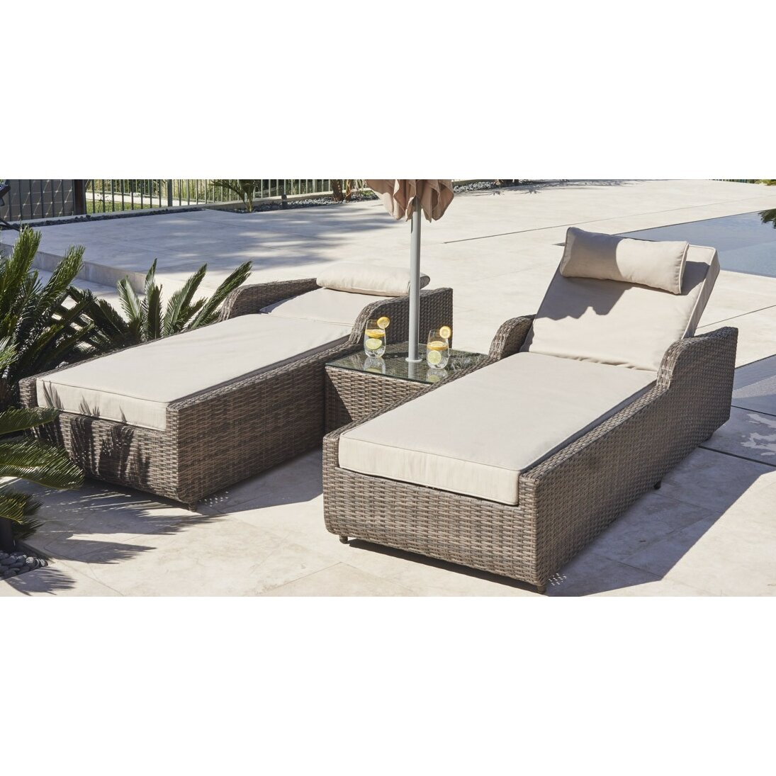 Directwicker alisa 3 piece chaise lounge with cushion for Buy chaise lounge cushion