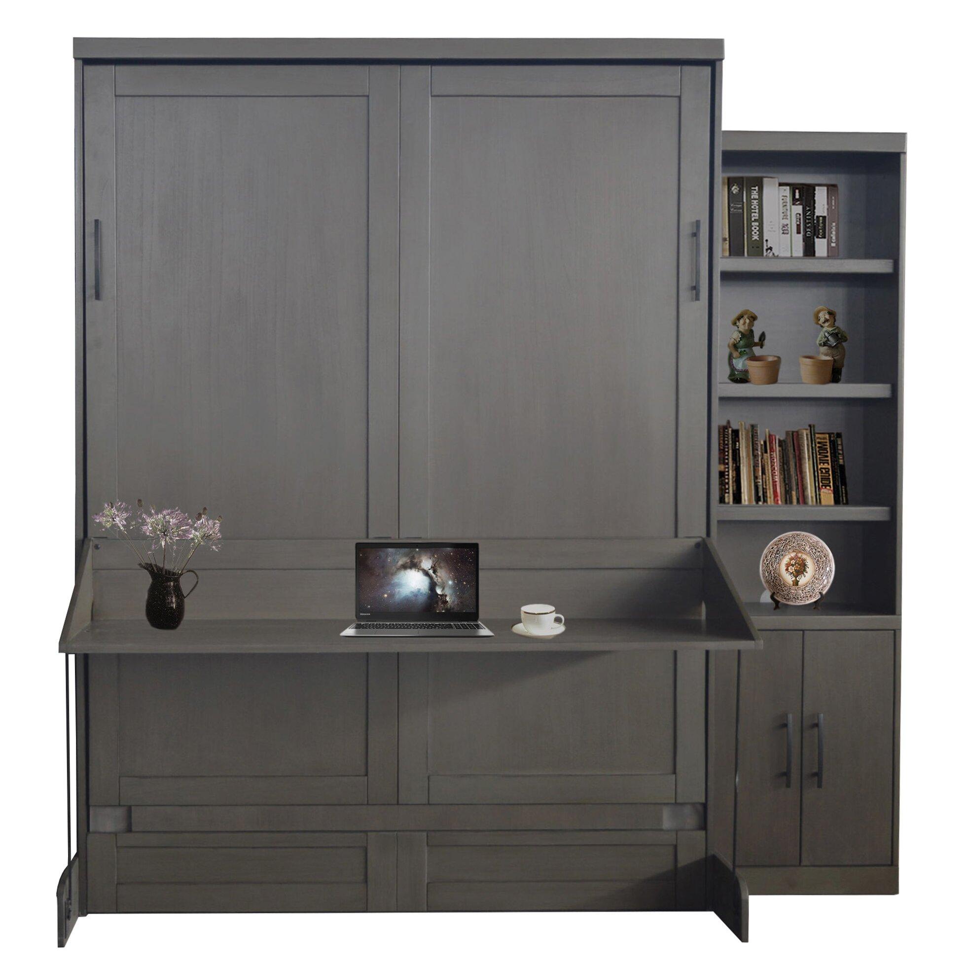 Roomandloft Andrew Queen Size Murphy Desk Bed With Door
