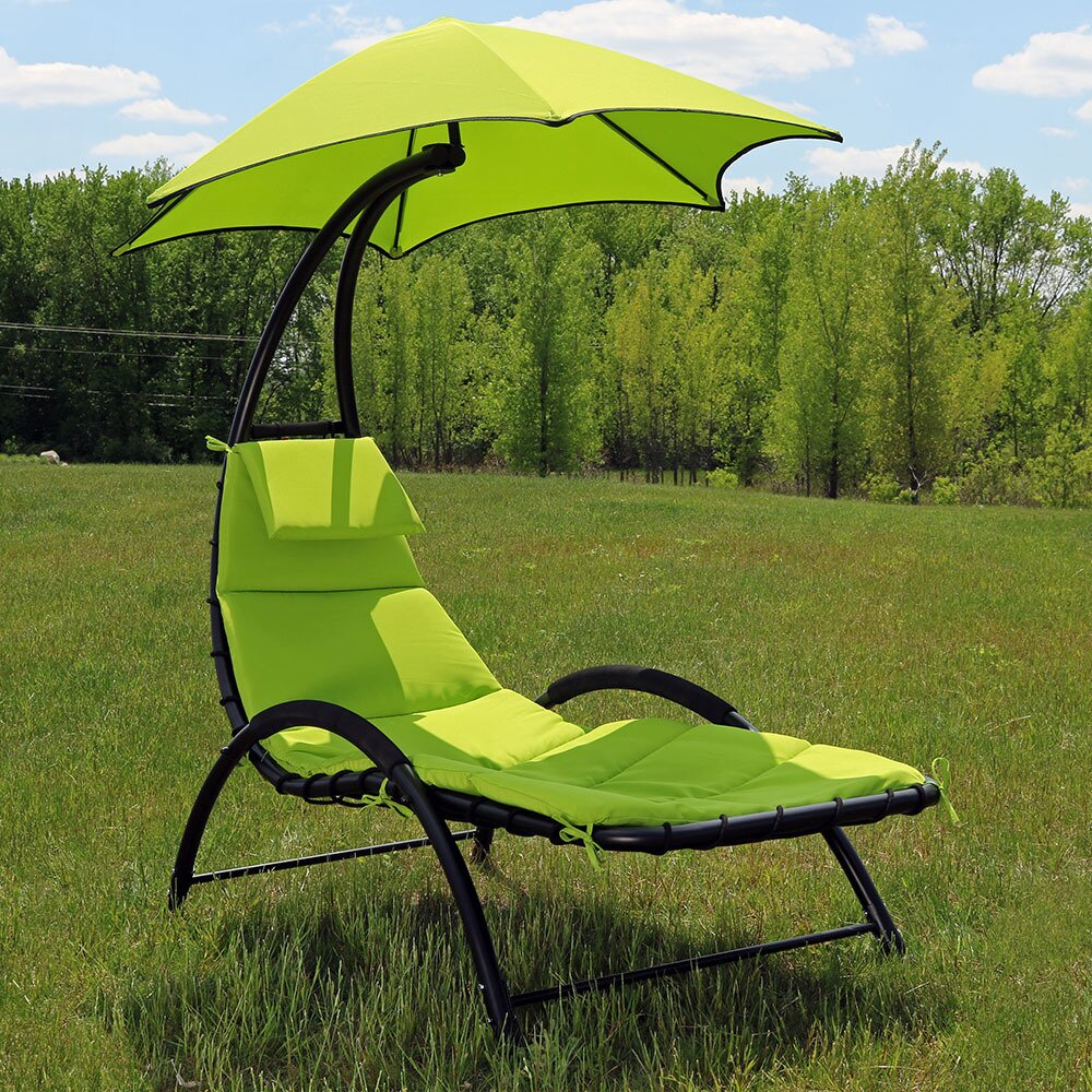 Sunnydaze decor chaise lounge with canopy and removable for Chaise lounge canopy