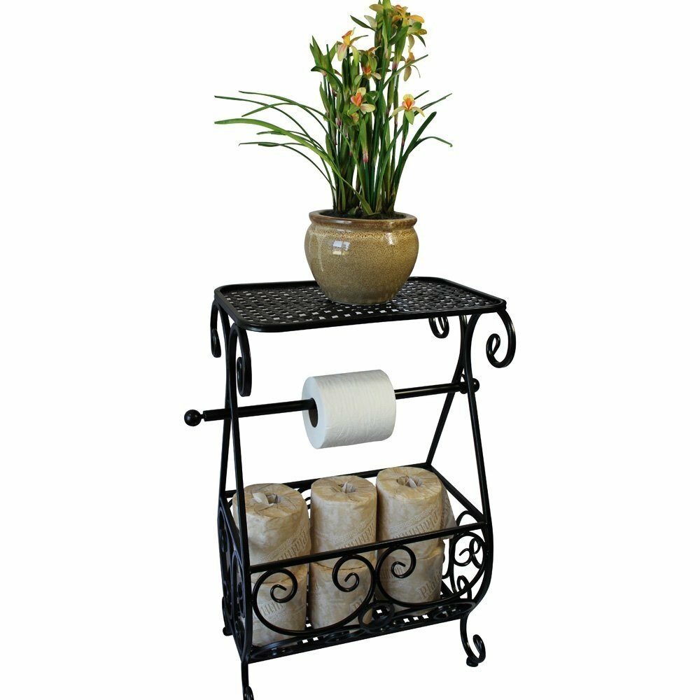 Free standing toilet paper holder with storage - Ikee Design Metal Free Standing Toilet Paper Holder With Bathroom Organizer Rack