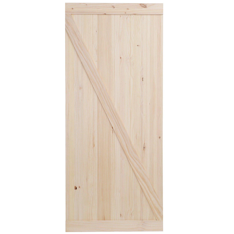 Calhome top mount wood interior barn door for Wood interior barn doors