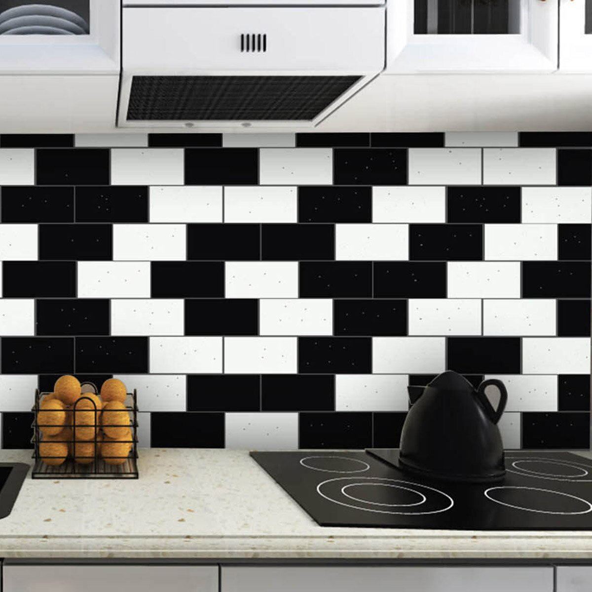 skinnytile 6 x 3 glass peel and stick subway tile in black. Black Bedroom Furniture Sets. Home Design Ideas