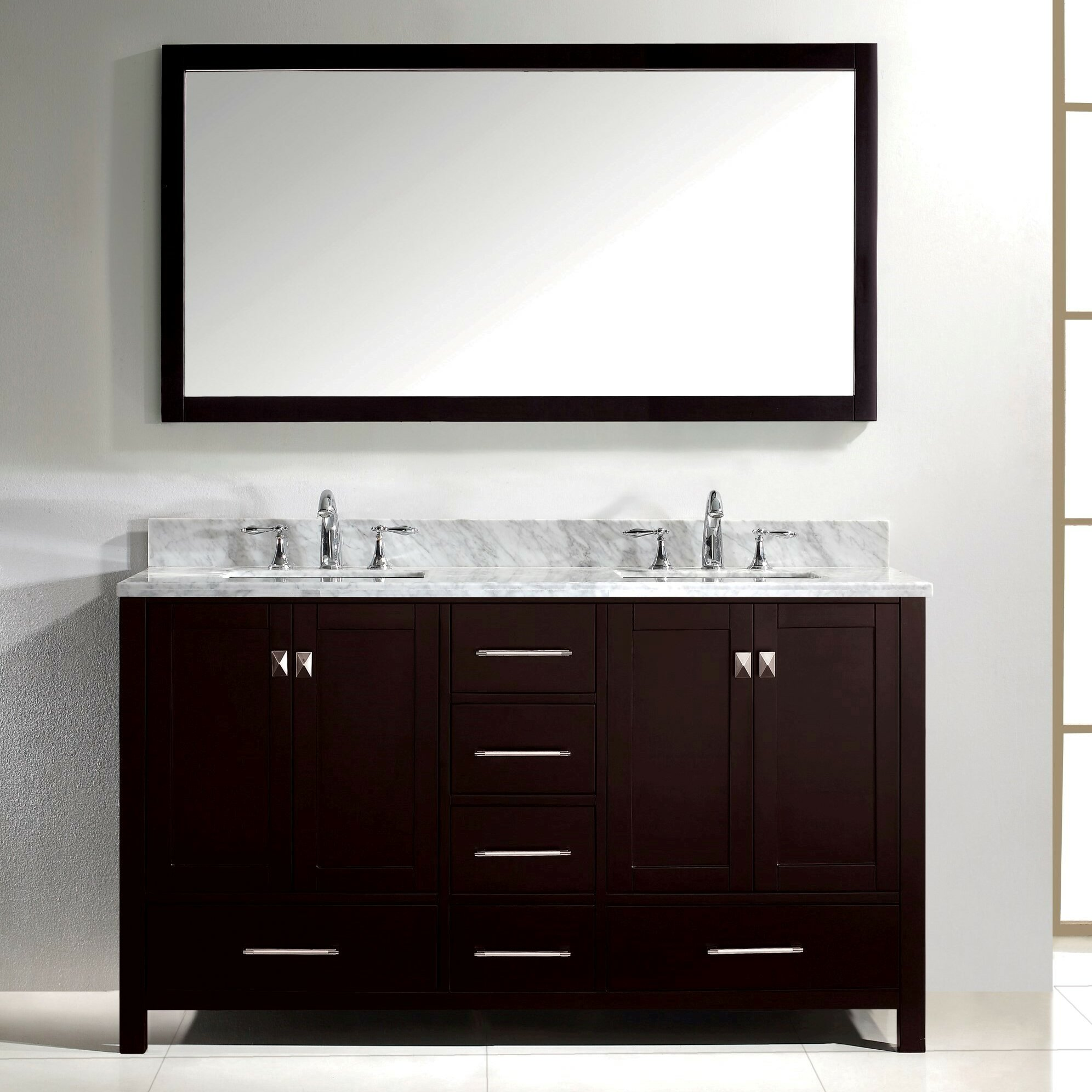Virtu Caroline Avenue 60 amp quot  Double Bathroom Vanity Set with Carrara White Top and Mirror. Virtu Caroline Avenue 60 quot  Double Bathroom Vanity Set with Carrara