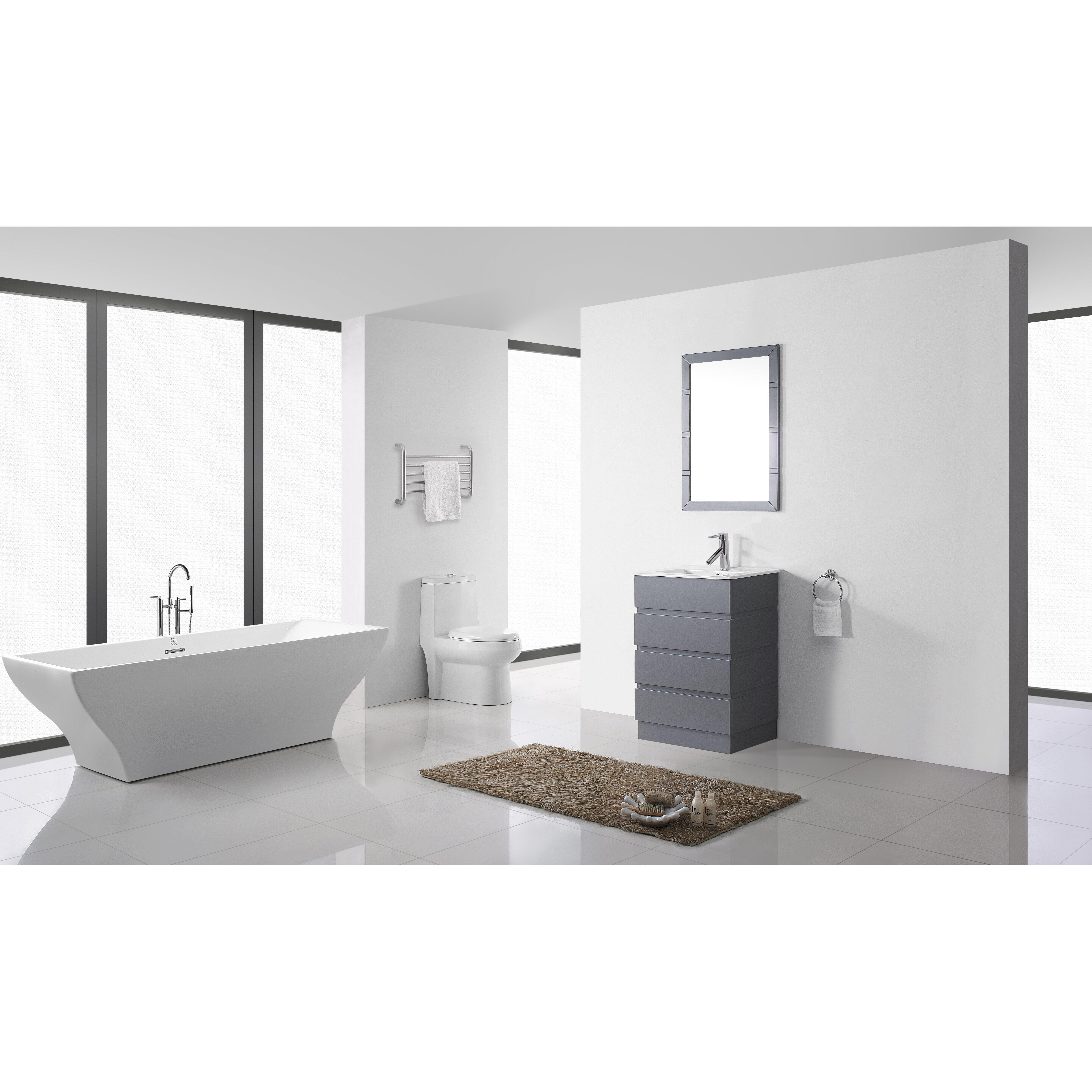 White Floor Bathroom Cabinet Virtu Bruno 24 Single Contemporary Bathroom Vanity Set With White