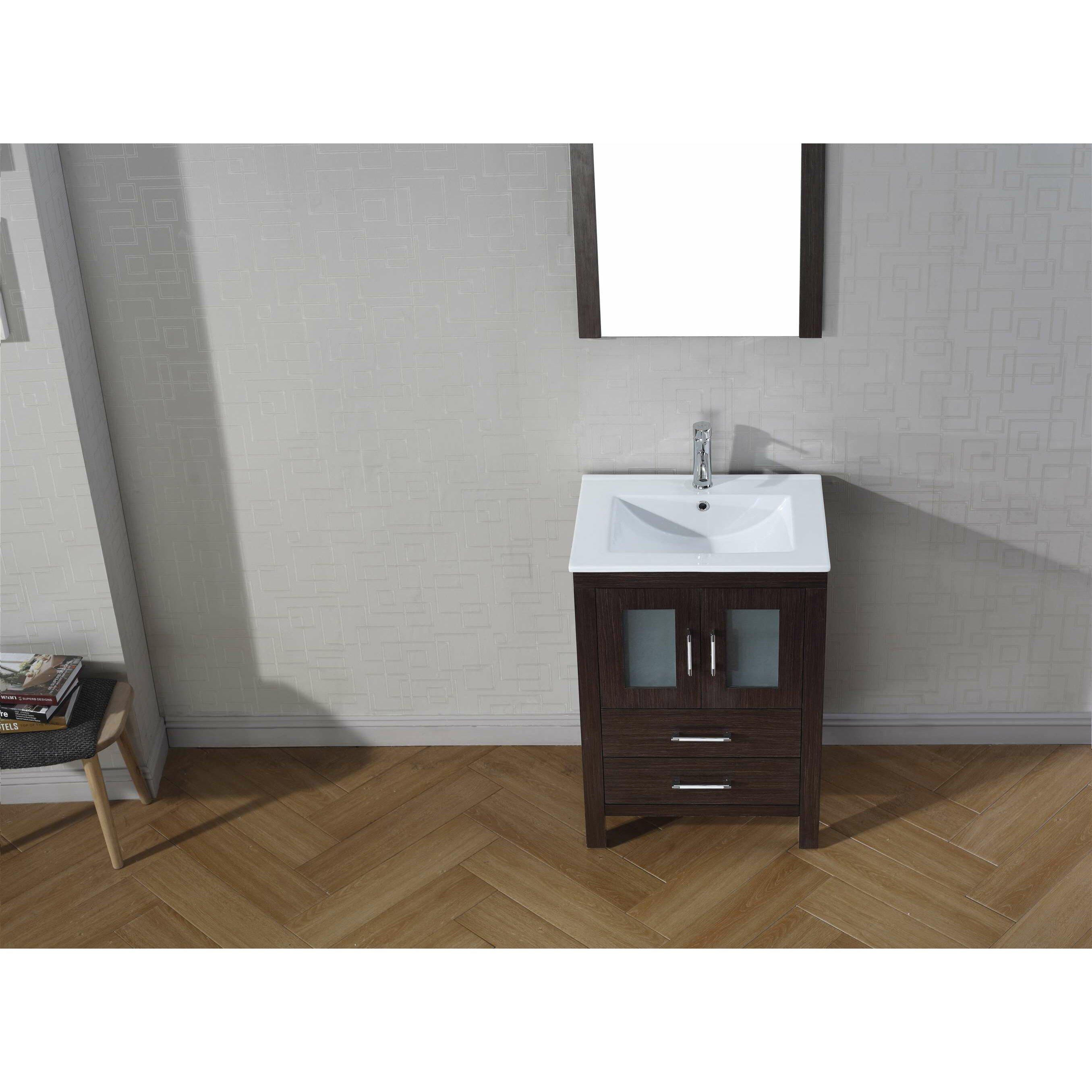 Virtu Dior 23 5 quot  Single Bathroom Vanity Set with White Top and Mirror. Virtu Dior 23 5  Single Bathroom Vanity Set with White Top and
