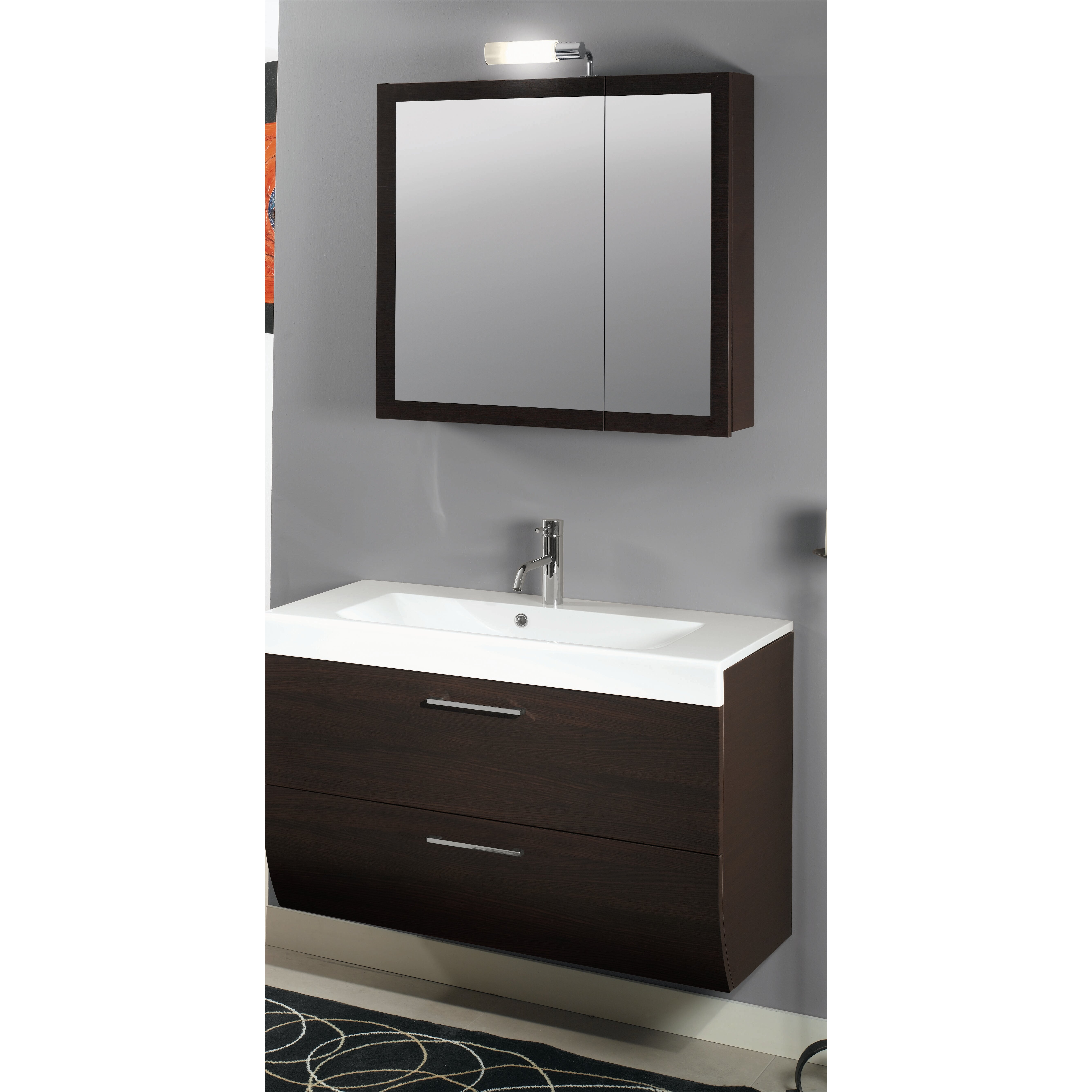 New day 38 single wall mounted bathroom vanity set with for Bathroom mirror set