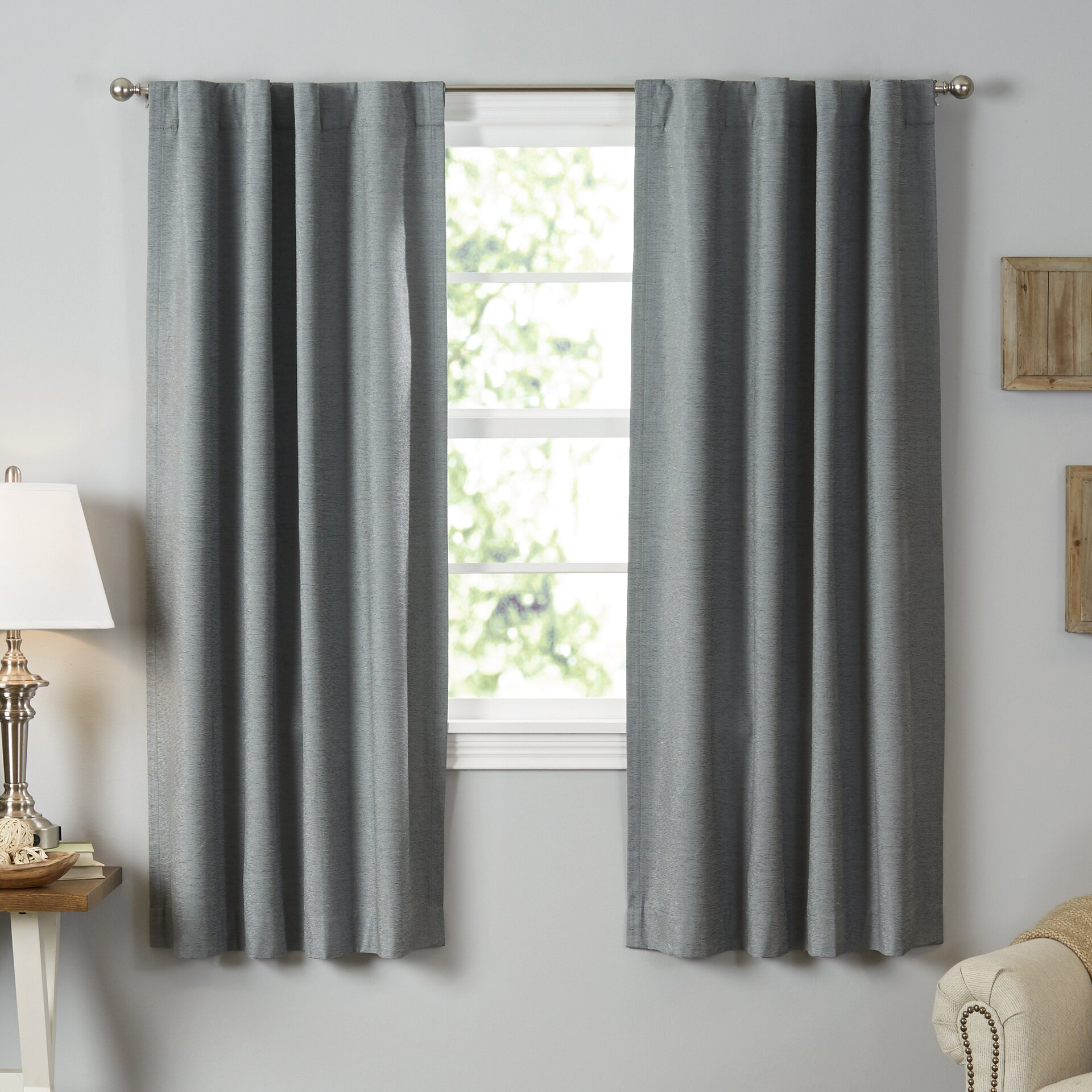 Thermal curtains grey - Beautyrest Room Darkening Blackout Thermal Single Curtain Panel