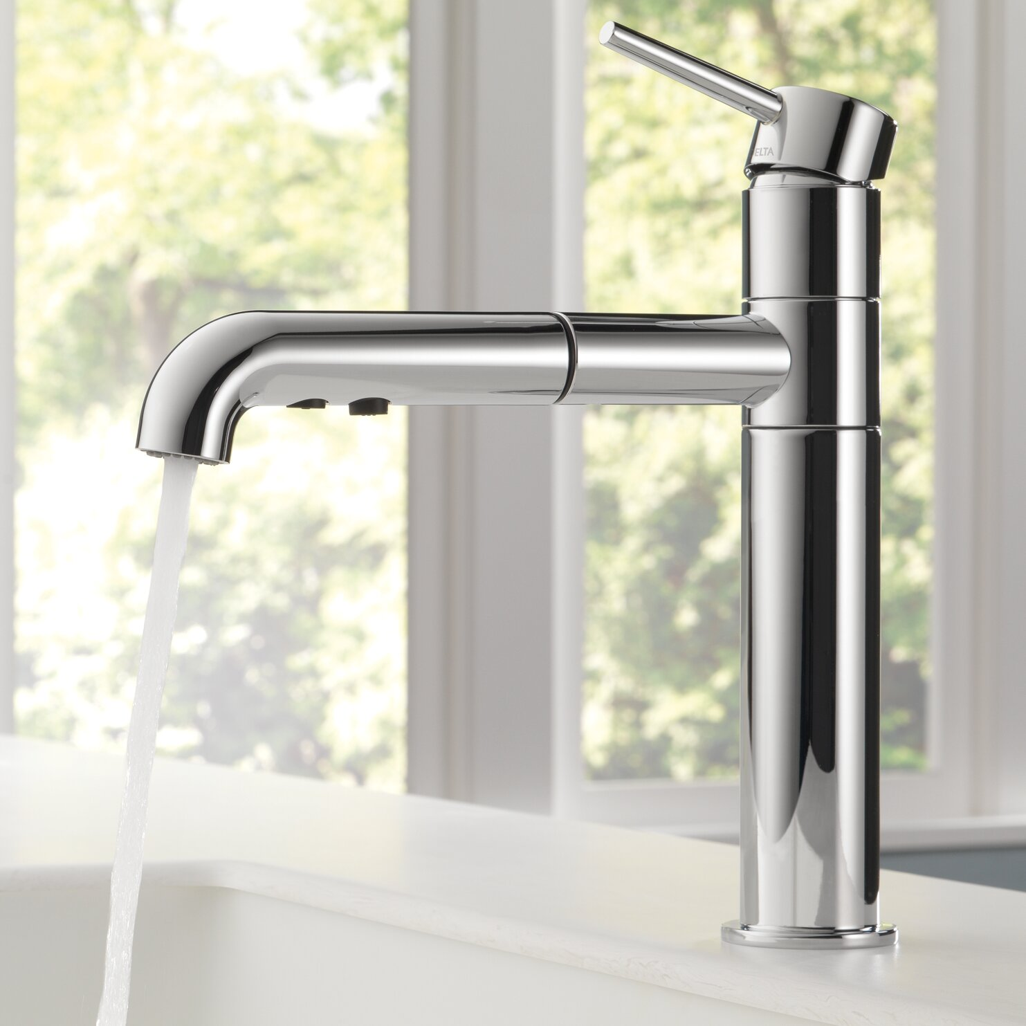 Compare Kitchen Faucets Delta Trinsicr Kitchen Single Handle Pull Out Standard Kitchen
