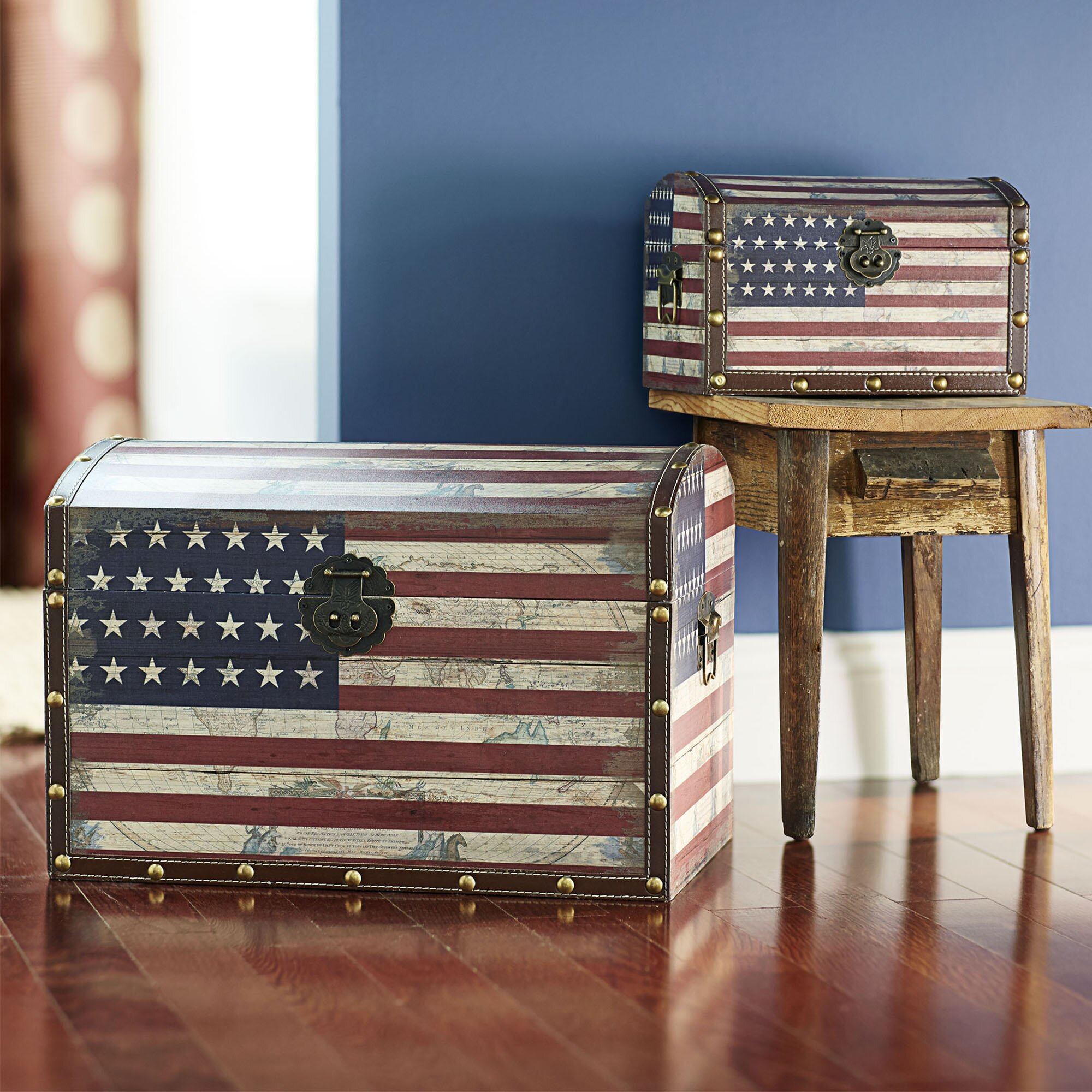 Household essentials 2 piece american flag design trunk for Household essentials whitney design
